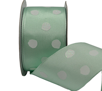 38mm WHITE SPOTS w/GLITTER-Mint
