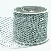63mm  GLITTER MESH-Metallic Silver