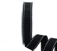 19mm GROSGRAIN STITCH-Black/White