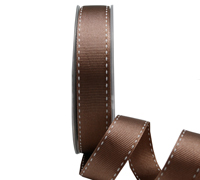 16mm GROSGRAIN STITCH-Brown/White