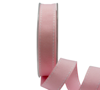 19mm GROSGRAIN STITCH-Pale Pink/White