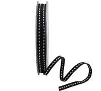 5mm GROSGRAIN STITCH-Black/White