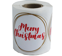 MERRY CHRISTMAS STICKER SEAL- Red/Gold on White