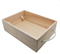 NATURAL TIMBER HAMPER BOX with handles