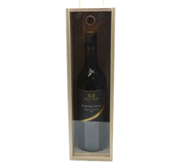 TIMBER SINGLE WINE BOX with clear lid