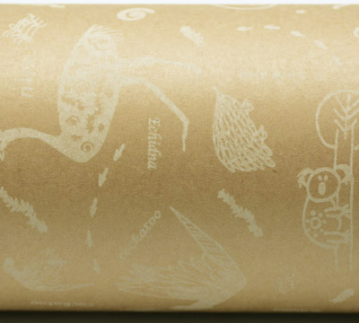 AUST ANIMALS WRAP-White on Kraft