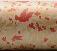 BIRD & BERRIES WRAP- Scarlet/Gold On Brown Kraft