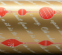 BAUBLE STRING WRAP- Gold/Scarlet On White
