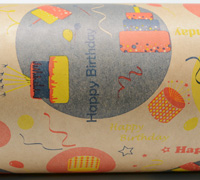 HAPPY BIRTHDAY WRAP- Navy/Yellow/Orange on Kraft