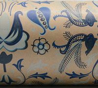 LYRE BIRD WRAP- Navy/Pbl/Cobalt/Blue on Kraft