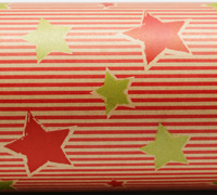 PINSTRIPE STAR WRAP- Scarlet Chartr on Kraft