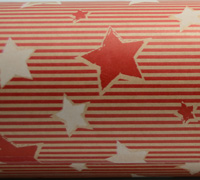 PINSTRIPE STAR WRAP- Scarlet White on Kraft