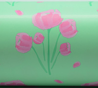 TULIP WATERCOLOUR WRAP- Mint/Ppink/Green