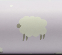 WOOLLY SHEEP WRAP- Lilac/Grey On White Kraft