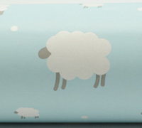 WOOLLY SHEEP WRAP- Pale Blue/Grey On White Kraft