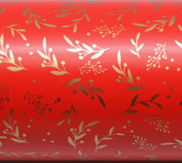 XMAS HOLLY WRAP- Scarlet/Gold on White