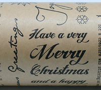 XMAS SCRIPT WRAP-Black On Kraft