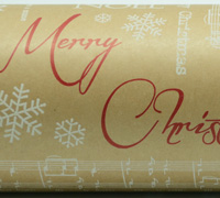 XMAS SCRIPT WRAP-White Scarlet on kraft