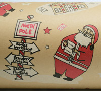 XSANTA SIGN WRAP-Scarlet on Kraft