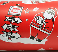 SANTA SIGN WRAP-White on Scarlet