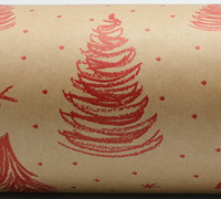 XSCRIBBLE TREE  WRAP-Scarlet on kraft