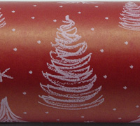 XSCRIBBLE TREE  WRAP-White on Scarlet on kraft