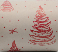 XSCRIBBLE TREE  WRAP-Scarlet on White on Kraft