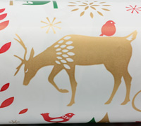 XMAS WOODLAND WRAP- Gold Scarlet Emerald